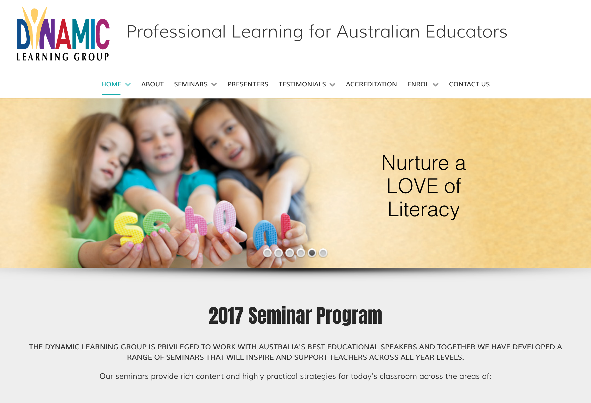 Dynamic Learning Centre website homepage